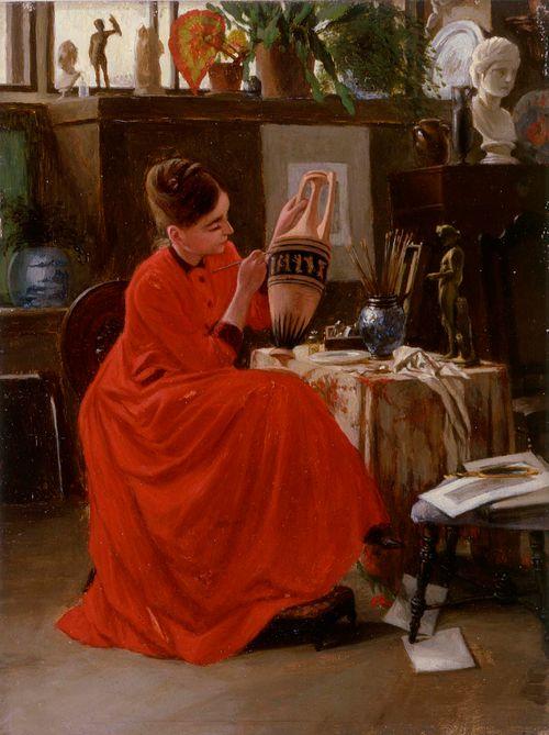 Sisäkuva, maljakonmaalaajatar