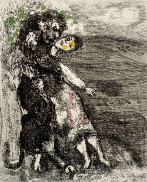 Rakastunut leijona. Kuvitusta La Fontainen Faabeleihin, sarja nro 74