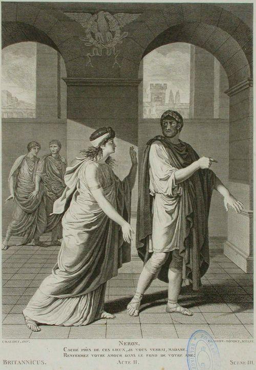 Kohtaus Racinen näytelmästä Britannicus, II näytös, III koht.