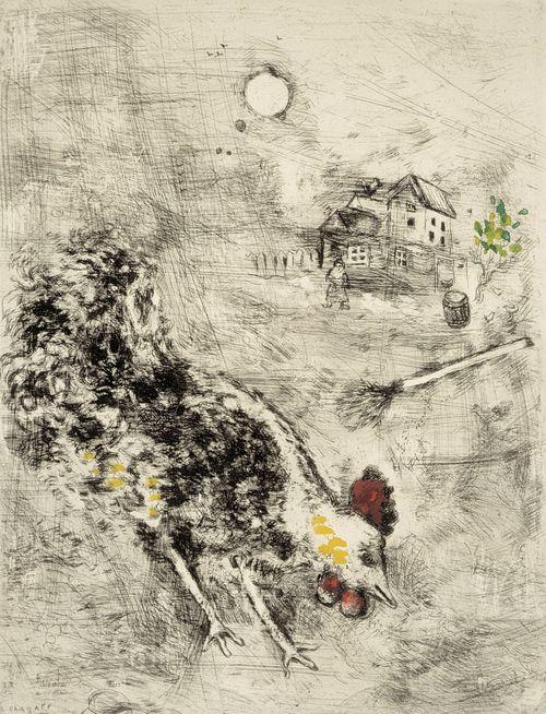 Kukko ja helmi. Kuvitusta La Fontainen Faabeleihin, sarja nro 74