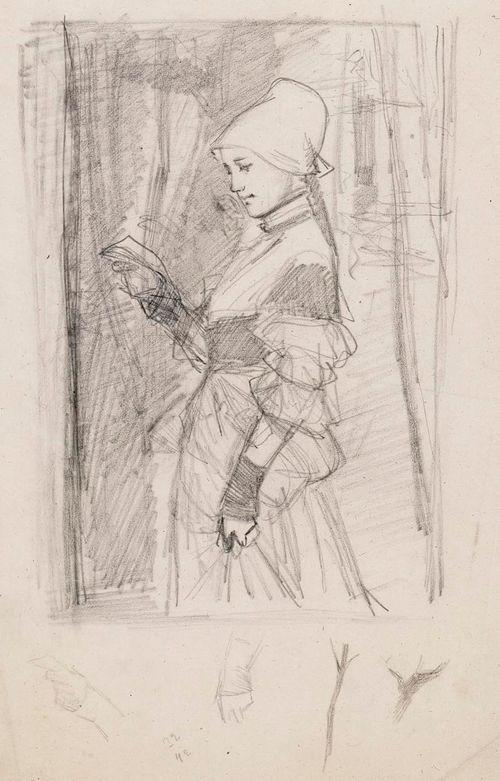 Kirjettä lukeva renessanssipukuinen nainen, luonnos