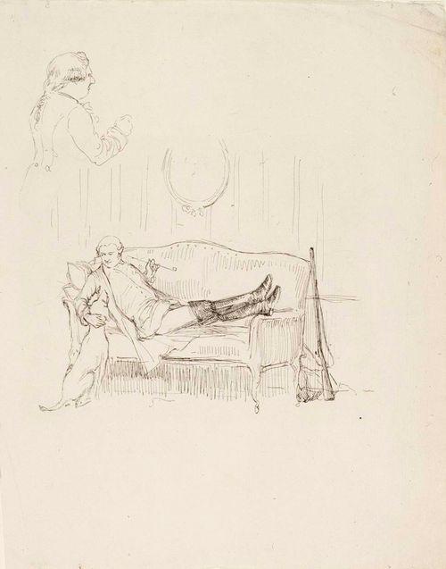 Sohvalla makaava nuori mies ja koira