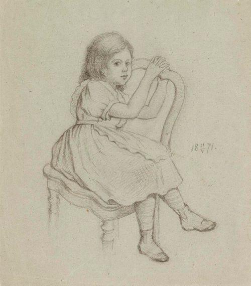 Pieni tuolilla istuva tyttö