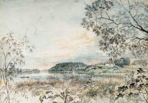 Louhisaari ; Maisemaharjoitelma lyijykynällä (kaksipuolinen teos)