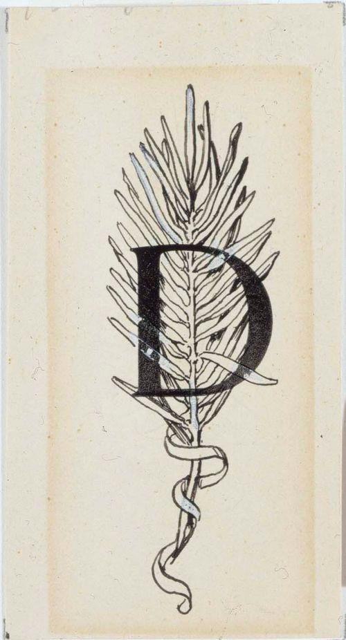 Numero viisitoista Stolt-runon alkukirjain D, originaalipiirustus Vänrikki Stoolin tarinain kuvitukseen (ruots.painos)