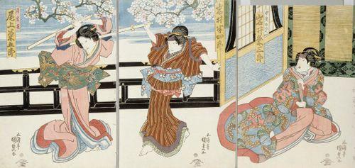 Näyttelijät Iwai Kumesaburo, Iwai Hanshiro VII ja Onoe Kikugoro III näytelmässä Kagamiyama kokyo no nishikie (Vanha värikuva Kagami-vuoresta)