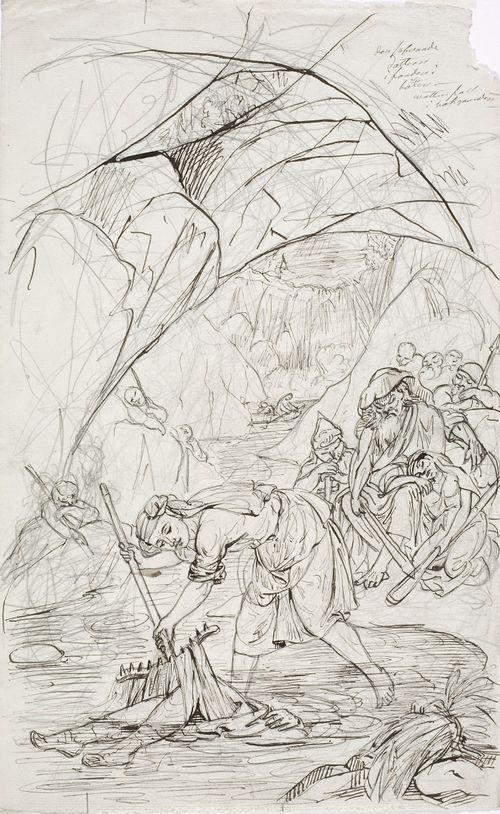 Lemminkäisen äiti Tuonelassa, luonnos Kalevala-aiheiseen piirrossarjaan
