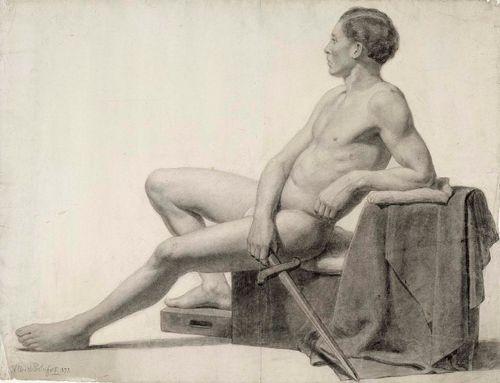 Istuva miesmalli, miekka kädessä, akatemiaharjoitelma