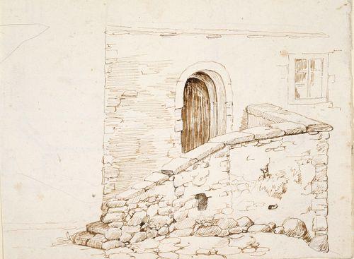 Italialaisen talon seinämuuria ja ovi