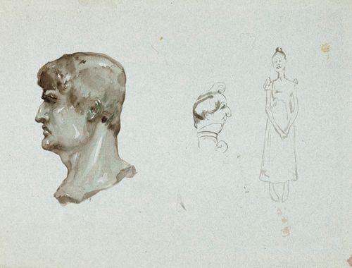 Roomalainen muotokuvapää sekä karikatyyri miehestä ja naisesta