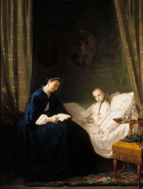 Äiti lukee sairaalle lapselleen