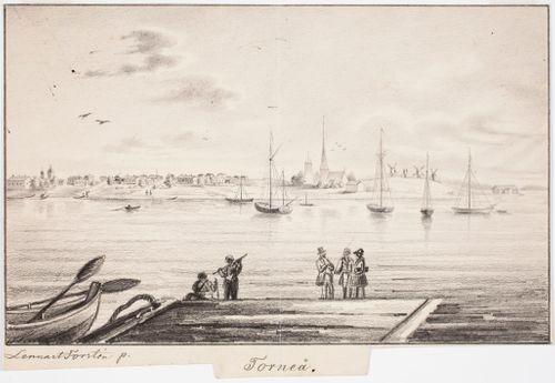 Tornio, originaalipiirustus teokseen Finland framställdt i teckningar