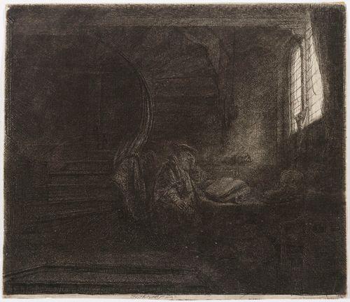Pyhä Hieronymus hämärässä huoneessa