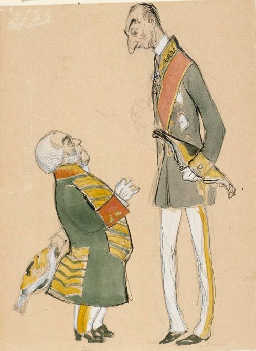 Karikatyyri maamarsalkka von Haartmanista sekä parooni Taubesta
