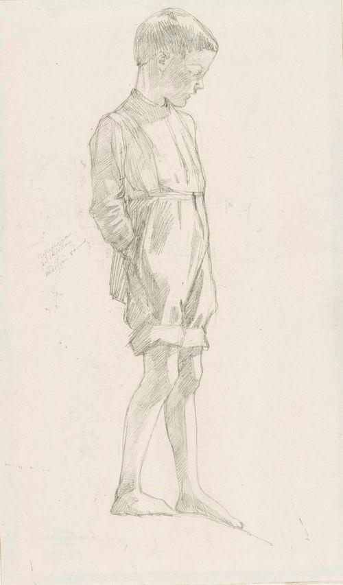 Kädet taskuissa seisova paljasjalkainen poika