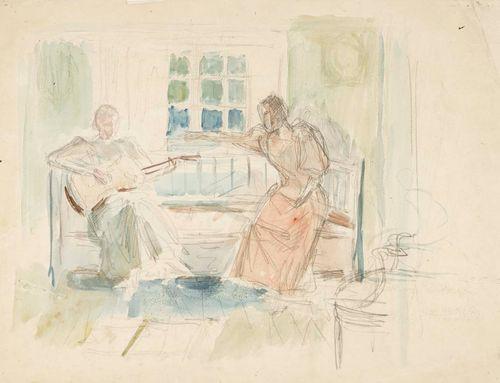 Kaksi naista sohvalla, toinen soittaa kitaraa