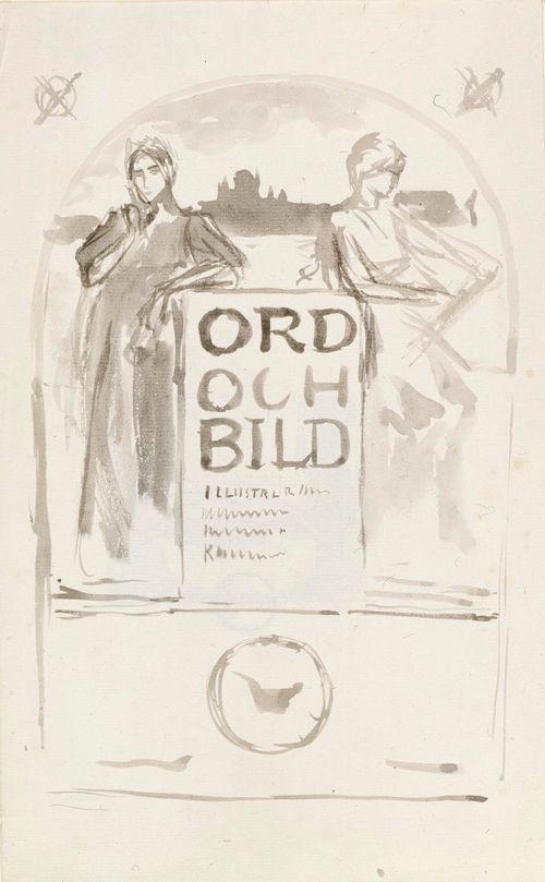 Ord och Bild -teoksen otsikkolehden luonnos