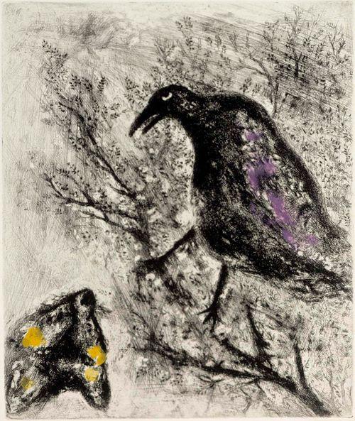 Korppi ja kettu. Kuvitusta La Fontainen Faabeleihin, sarja nro 74