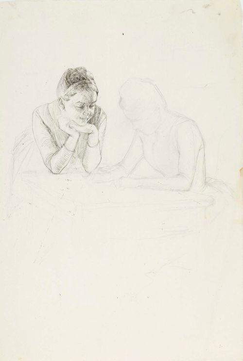Kaksi naista pöydän vieressä