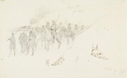 Ratsastavia sotureita, käsiharjoitelmia, mm. Runebergin pää ym