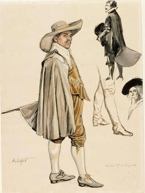 Pukukuvia: 1600-luvun hovimies, sotilas, miehen pää ja jalat