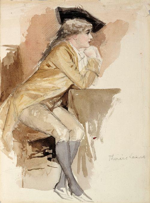 Istuva tyttö 1700-luvun puvussa, Therese Lainville
