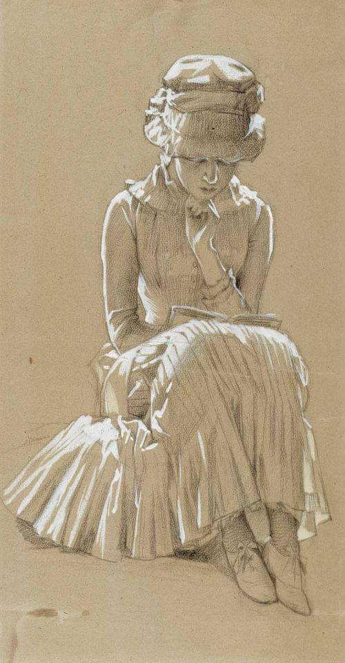 Istuva nuori nainen, henkilötutkielma maalaukseen Koivujen alla