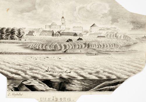 Oulu, originaalipiirustus teokseen Finland framställdt i teckningar
