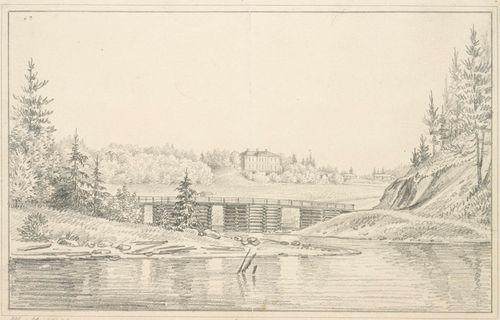 Hiiden kartano Janakkalassa, originaalipiirustus teokseen Finland framställdt i teckningar