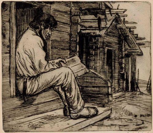 Suomalainen talonpoika lukemassa raamattua