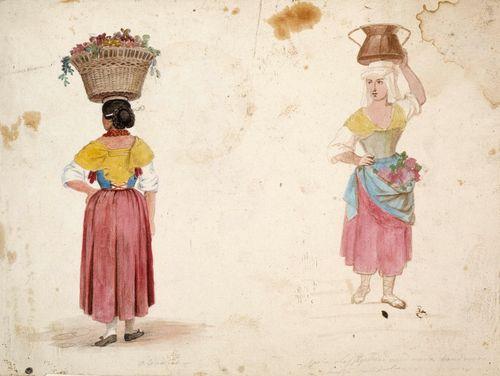 """Kaksi harjoitelmaa Italiasta: kukkakori päänsä päällä seisova nainen edestä ja takaa ; """"Olevano"""""""