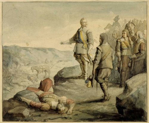 Kustaa II Aadolf keskustelemassa upseeriensa kanssa