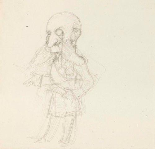 Karrikoitu muotokuva vanhahkosta hoviylimyksestä