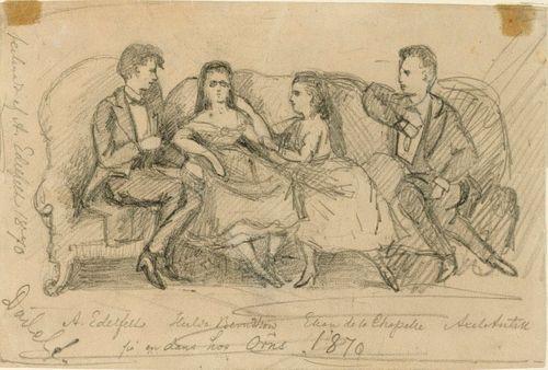 Albert Edelfelt, Hulda Berndtson, Ellan de la Chapelle ja Axel Antell tanssiaisissa salaneuvos R.I. Örnin luona