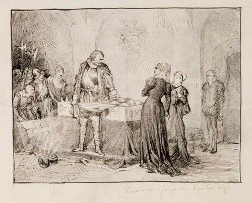 Kaarle-herttua herjaa Klaus Flemingin ruumista, sommitteluharjoitelma