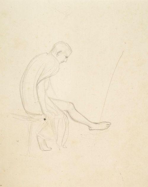 Istuva alaston nuorukainen