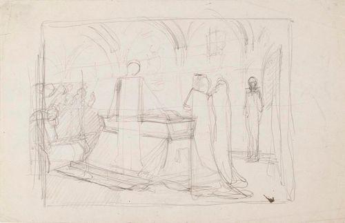 Luonnos maalaukseen Kaarle-herttua herjaa Klaus Flemingin ruumista