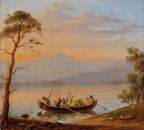 Ruotsalaista sadonkorjuuväkeä veneessä