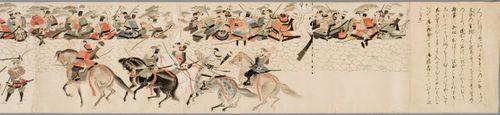 Mongolien hyökkäys Japaniin 1281. Kopio 1200-luvun alkuperäisestä kuvarullasta
