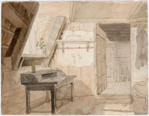 Interiööri. Kirjoituspöytä ja nojatuoli, taustalla toiseen huoneeseen johtava avoin ovi.