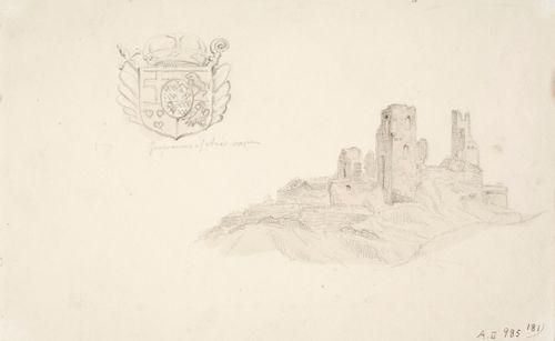 Are-linnan rauniot, vasemmalla aatelisvaakuna
