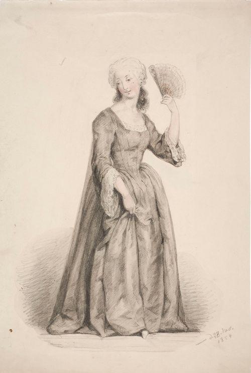 Seisova nainen mustassa puvussa, hiukset puuteroituna ja auringonvarjo kädessä