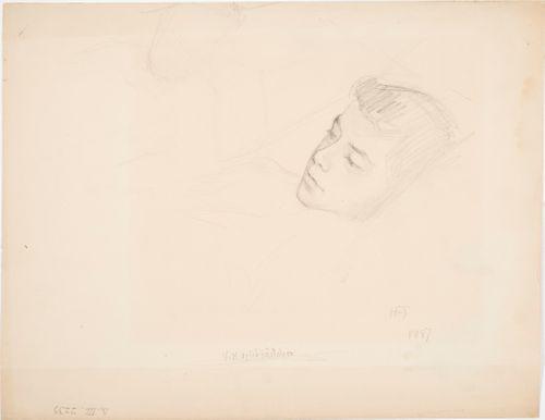 Sairasvuoteen ääressä, luonnos maalaukseen Pieni potilas