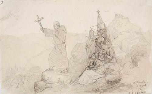 Munkki saarnaamassa kristinoppia joukolle pakanoita, oikealla neljän henkilön ryhmä