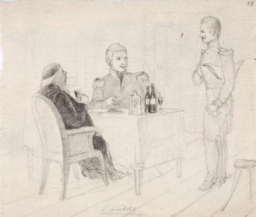 Sandels adjutantteineen. Interiööri, jossa kolme miestä katetun pöydän ympärillä.