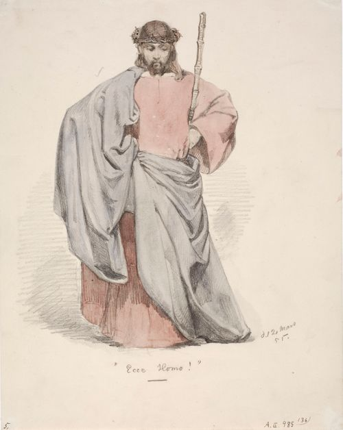 Ecce Homo. Kristus orjantappurakruunu päässä puettuna punaiseen pukuun ja siniseen viittaan.