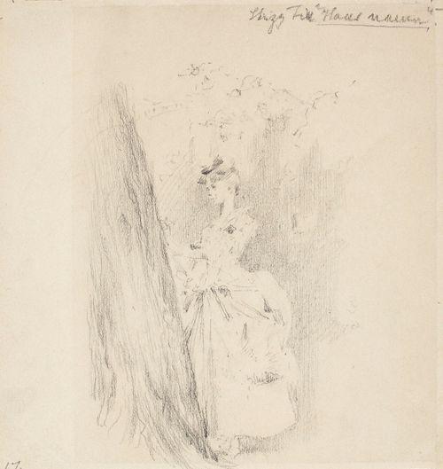Harjoitelma maalaukseen Hänen nimensä, puun vieressä seisova nainen