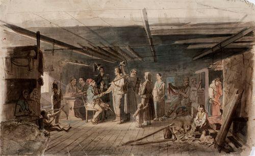 Värväys hämäläisessä talonpoikaistuvassa, luonnos venäläiselle kruununperijälle 1851 maalattuun öljymaalaukseen.