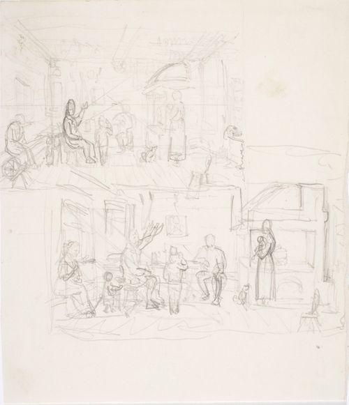 Kaksi luonnosta teokseen Talonpoikaistupa Nauvossa (Sotaveteraani kertoo) A I 117