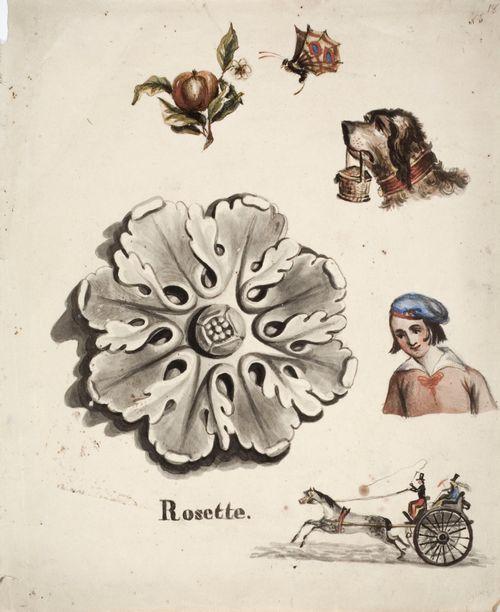 Kipsiruusuke, pojan rintakuva, koira kori suussa, perhonen, omena, jossa lehti ja kukka sekä hevosvaunut, joissa kolme henkilöä